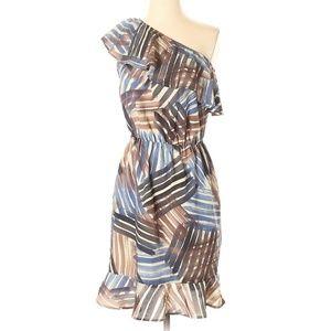 Banana Republic Pattern Ruffle One Shoulder Dress